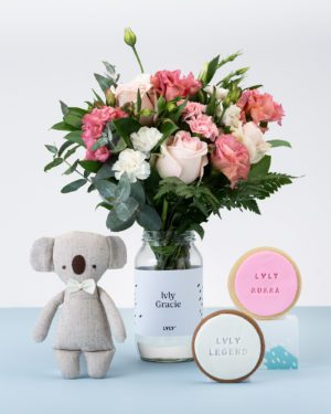 LVLY Personalised Flowers, Soft Toy & Cookies